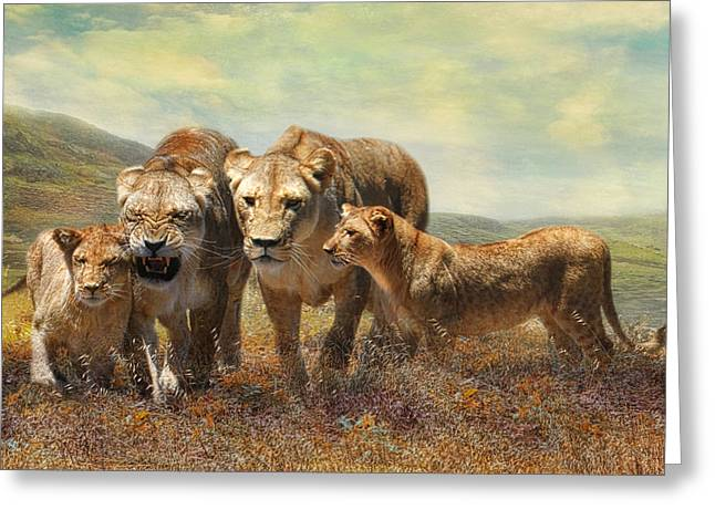 Lioness Greeting Cards -  Kefira and Kesari Greeting Card by Trudi Simmonds