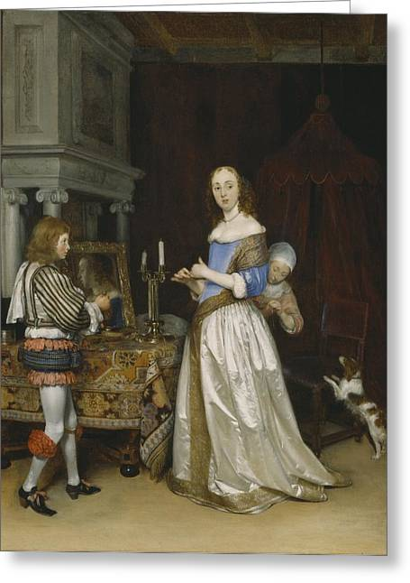 Lady At Her Toilette Greeting Card by Gerard ter Borch