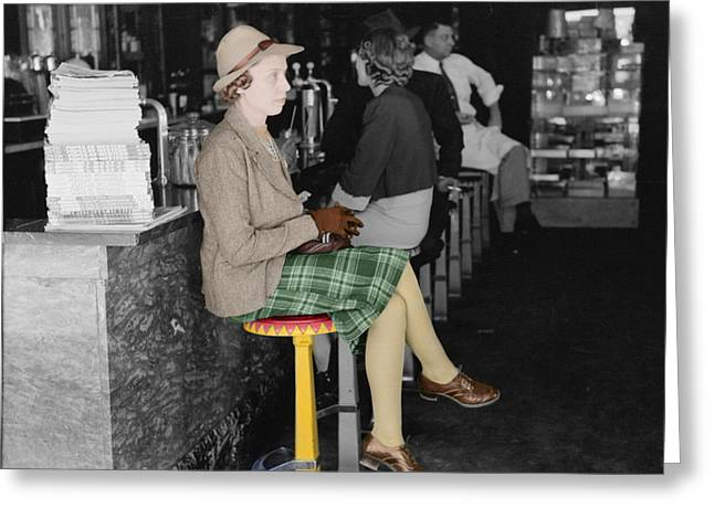Conservative Photographs Greeting Cards -  Lady In A Diner Greeting Card by Andrew Fare