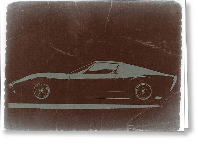 Concept Cars Greeting Cards -  Lamborghini Miura Greeting Card by Naxart Studio