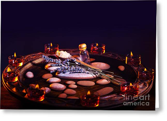Essential Greeting Cards -  Lavender herbal spa room with zen atmosphere Greeting Card by Anna Omelchenko