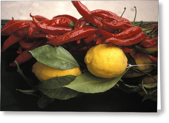 Lemons And Dried Red Peppers  For Sale Greeting Card by Richard Nowitz