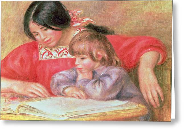 Renoir Greeting Cards -  Leontine and Coco Greeting Card by Pierre Auguste Renoir