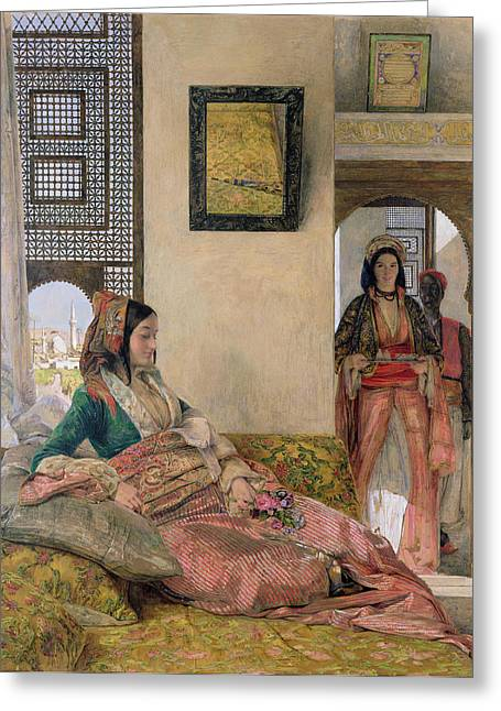 Frederick Greeting Cards -  Life in the harem - Cairo Greeting Card by John Frederick Lewis