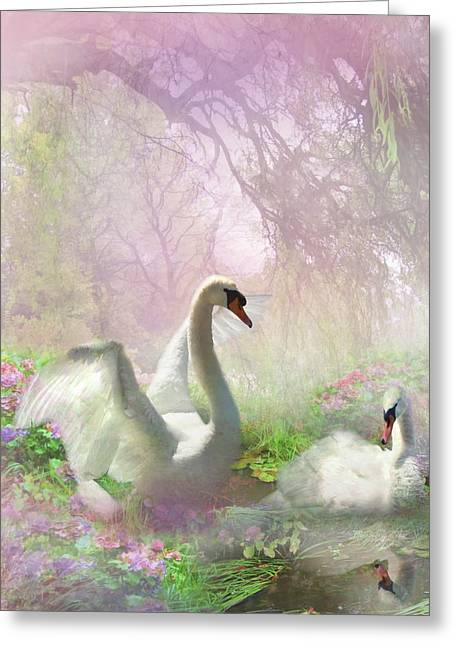 Swans... Digital Art Greeting Cards -  Lightness of Being 2 Greeting Card by Trudi Simmonds