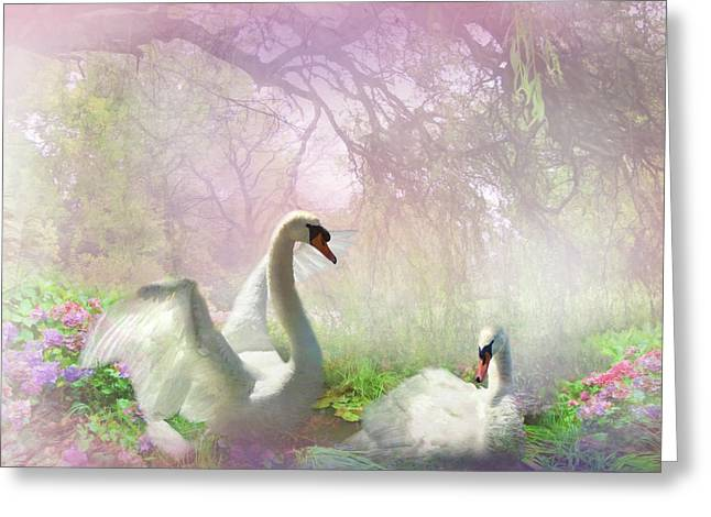 Swans... Digital Art Greeting Cards -  Lightness of Being 3 Greeting Card by Trudi Simmonds