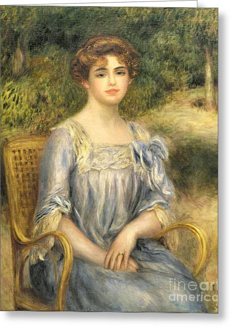 Short Hair Greeting Cards -  Madame Gaston Bernheim de Villers  Greeting Card by Pierre Auguste Renoir