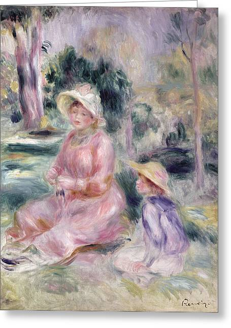 Sun Hat Paintings Greeting Cards -  Madame Renoir and Her Son Pierre Greeting Card by Pierre Auguste Renoir