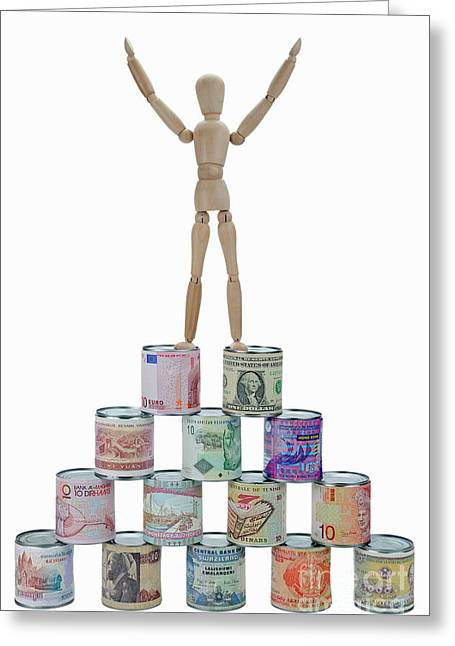 Domination Greeting Cards -  Mannequin on banknotes pyramid Greeting Card by Sami Sarkis
