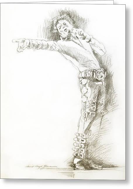 Most Favorite Drawings Greeting Cards -  Michael Jackson Live Greeting Card by David Lloyd Glover
