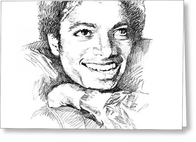 MICHAEL JACKSON SMILE Greeting Card by David Lloyd Glover