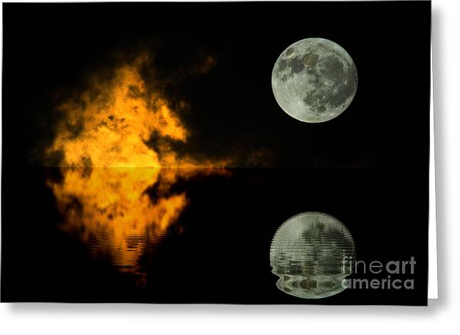 Sea Moon Full Moon Greeting Cards -  Moon and sky reflection Greeting Card by Odon Czintos