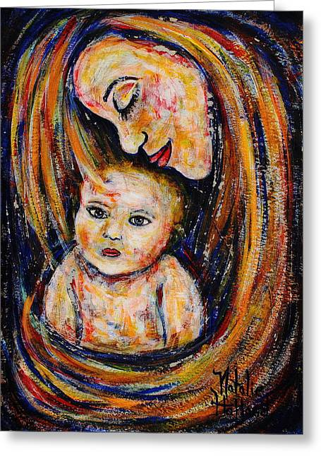 Natalie Holland Art Greeting Cards -  Mothers Love Greeting Card by Natalie Holland