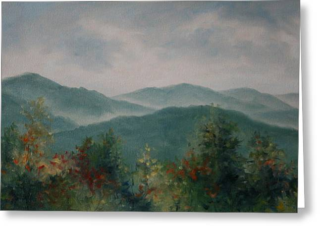 Smoky Paintings Greeting Cards -  Mountain Autumn Greeting Card by Mary Taglieri