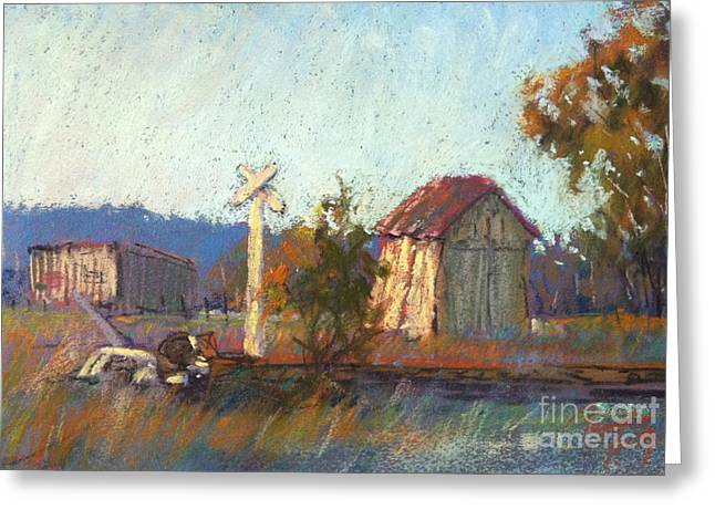 Sheds Pastels Greeting Cards -  Muckleford Railyards Greeting Card by Pamela Pretty