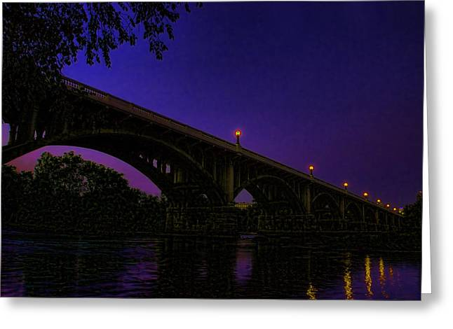 Lexington South Carolina Greeting Cards -  Night Glow On The Gervais Bridge Greeting Card by Steven Richardson
