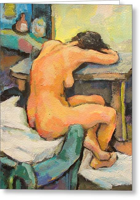 Description Greeting Cards -   Nude Painting 2 Greeting Card by Alfons Niex