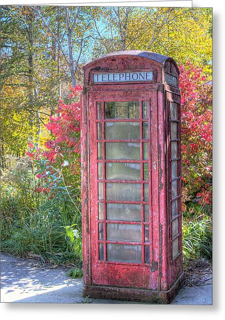 Urban Images Greeting Cards -  Old Phone Booth Greeting Card by Terry Talbot