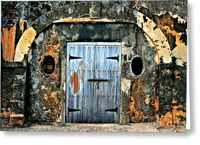 Old Wooden Doors Greeting Card by Perry Webster