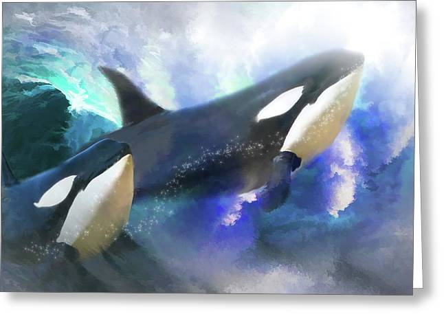 Orca Digital Art Greeting Cards -  Orca Wild Greeting Card by Trudi Simmonds