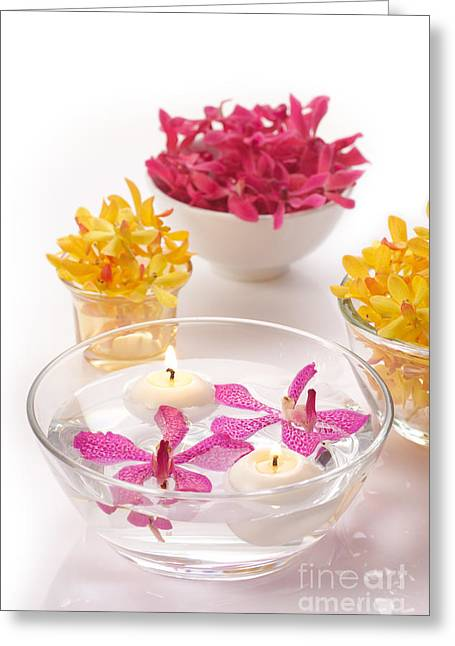 Descriptive Greeting Cards -  Orchid Head And Candle  Greeting Card by Atiketta Sangasaeng