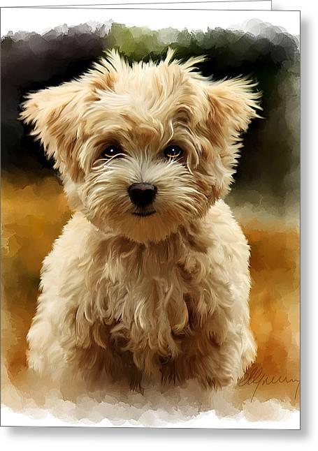 Dog Portrait Mixed Media Greeting Cards -  Pet Dog Portrait Greeting Card by Michael Greenaway