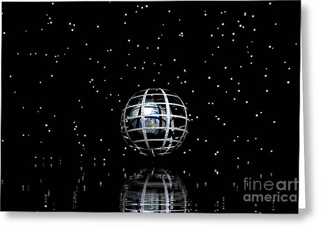 Sweating Digital Art Greeting Cards -  Planet and stars Greeting Card by Odon Czintos