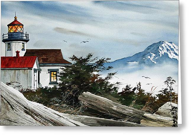 Lighthouse Prints Greeting Cards -  Point Robinson Lighthouse and Mt. Rainier Greeting Card by James Williamson