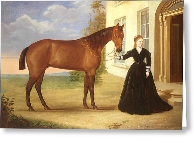 Doorway Greeting Cards -  Portrait of a lady with her horse Greeting Card by English School