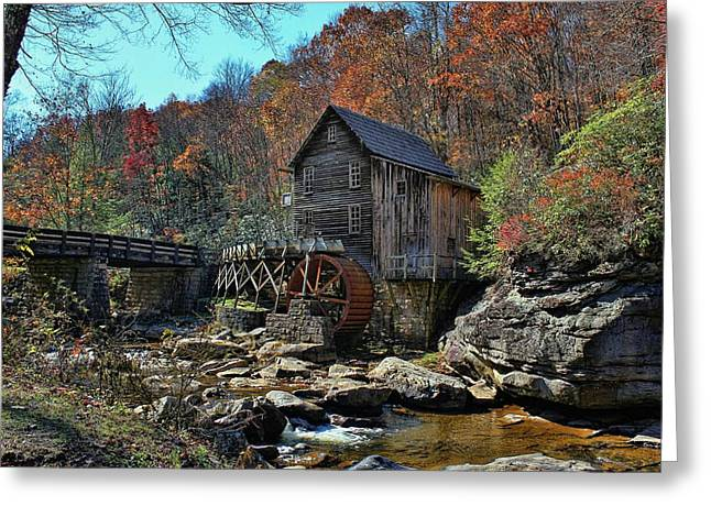 Virginia Postcards Greeting Cards -  Postcard From West Virginia  Babcock State Park  Glade Creek Grist Mill Greeting Card by Lanis Rossi