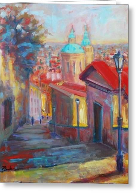 Prague Paintings Greeting Cards -  Prague Greeting Card by Margaret  Plumb