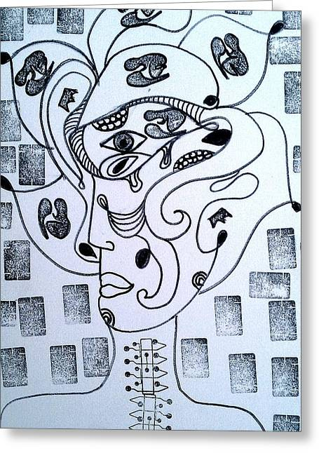 Psychology Drawings Greeting Cards -  Pregnant Mind  Greeting Card by Ana Julia Fishman