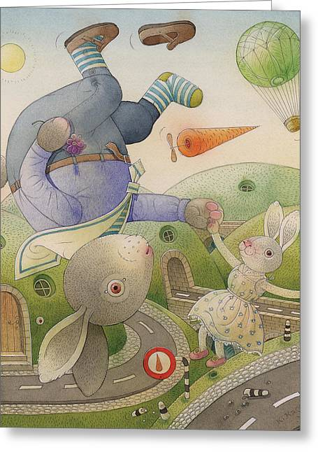 Summer Landscape Drawings Greeting Cards -  Rabbit Marcus the Great 05 Greeting Card by Kestutis Kasparavicius