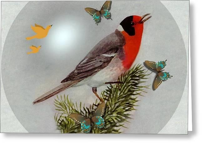Warbler Digital Art Greeting Cards -  Red Faced Warbler Greeting Card by Madeline  Allen - SmudgeArt