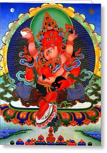 Full Of Wisdom Greeting Cards -   Red Jambhala  1 Greeting Card by Lanjee Chee