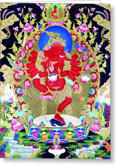 Full Of Wisdom Greeting Cards -   Red Jambhala  4 Greeting Card by Lanjee Chee