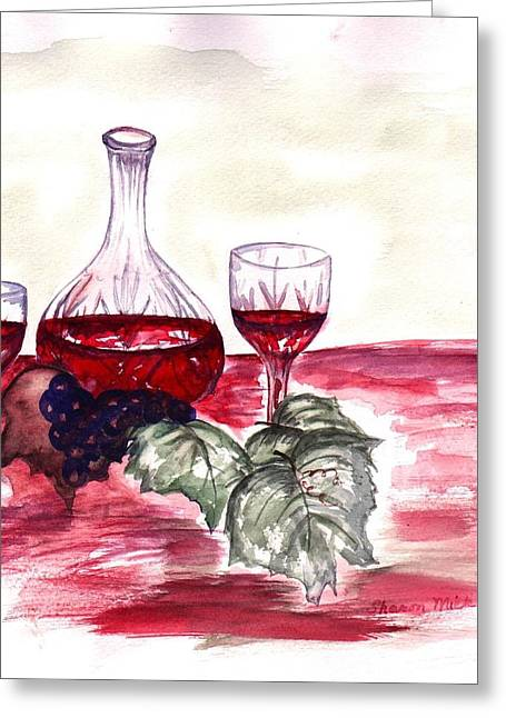 Red Wine Greeting Card by Sharon Mick