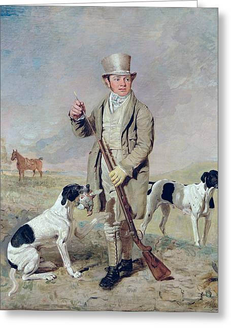 1835 Greeting Cards -  Richard Prince with Damon - the late Colonel Mellishs Pointer Greeting Card by Benjamin Marshall