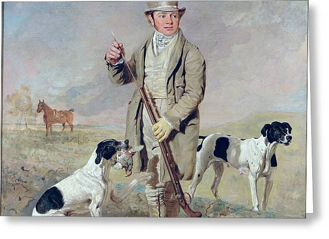 Richard Prince with Damon - the late Colonel Mellish's Pointer Greeting Card by Benjamin Marshall