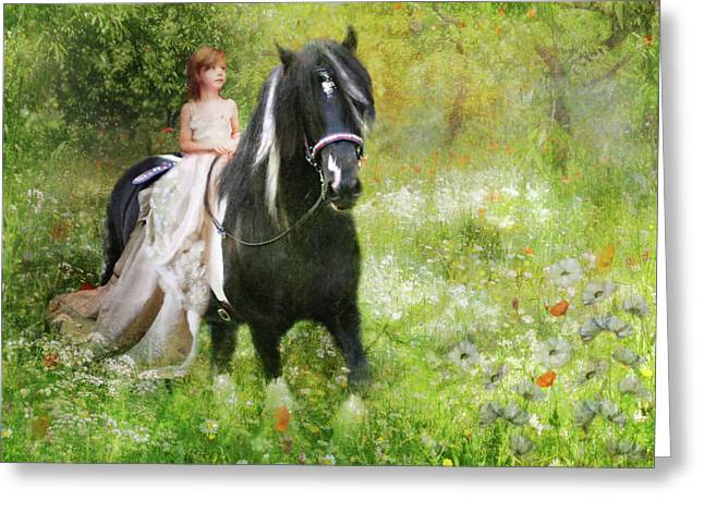 Gypsy Cob Greeting Cards -  Riding with the Romany Greeting Card by Trudi Simmonds