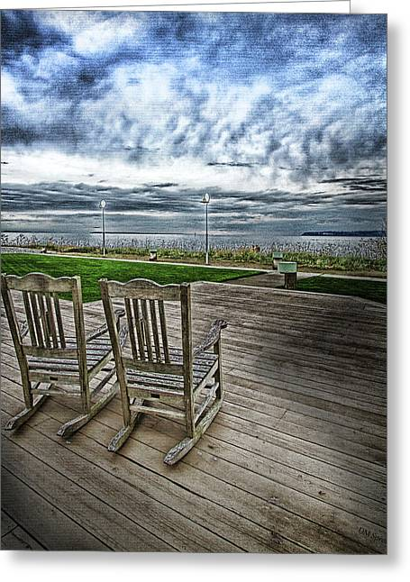 Rocking Chairs Digital Art Greeting Cards -  Rocking Chairs on beach - Color Greeting Card by DMSprouse Art