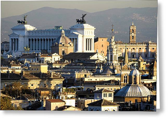 Rome's rooftops Greeting Card by Fabrizio Troiani