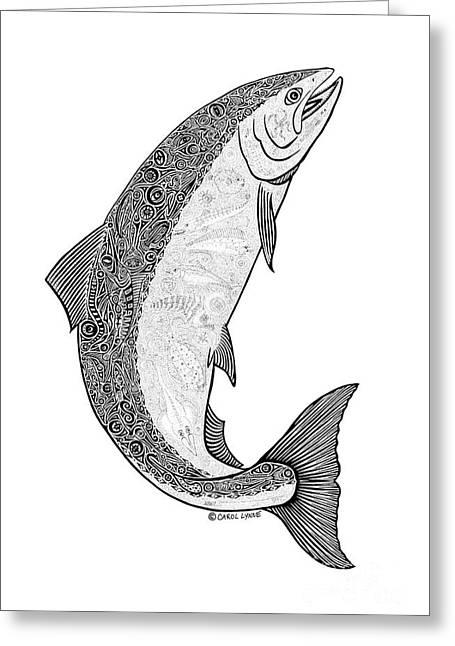 White Salmon River Greeting Cards -  Salmon II Greeting Card by Carol Lynne