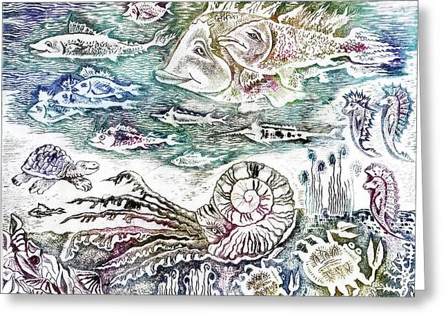 Drypoint Greeting Cards -  Sea World Greeting Card by Milen Litchkov