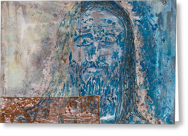 Statue Portrait Paintings Greeting Cards -  See Me See My Father and The Spirit Greeting Card by Thomas Lentz