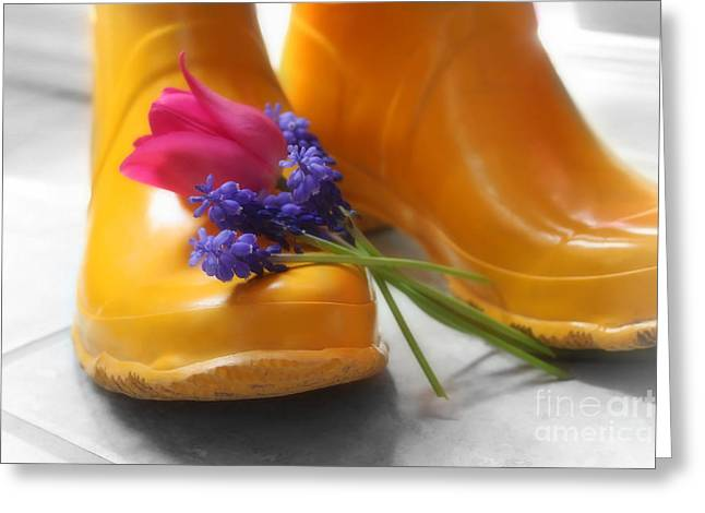 Rubber Boot Greeting Cards -  Spring Boots Greeting Card by Cathy  Beharriell