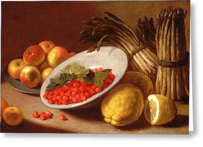 18th Century Greeting Cards -  Still Life of Raspberries Lemons and Asparagus  Greeting Card by Italian School