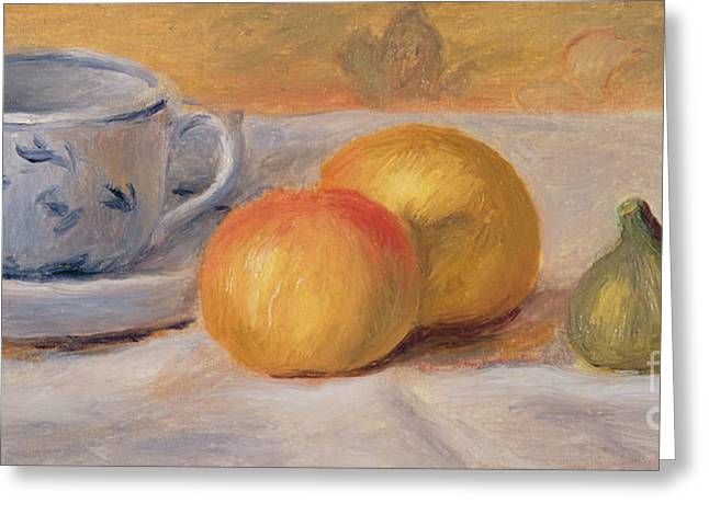 Table-cloth Greeting Cards -  Still Life with Blue Cup Nature Morte a la Tasse Bleue Greeting Card by Pierre Auguste Renoir