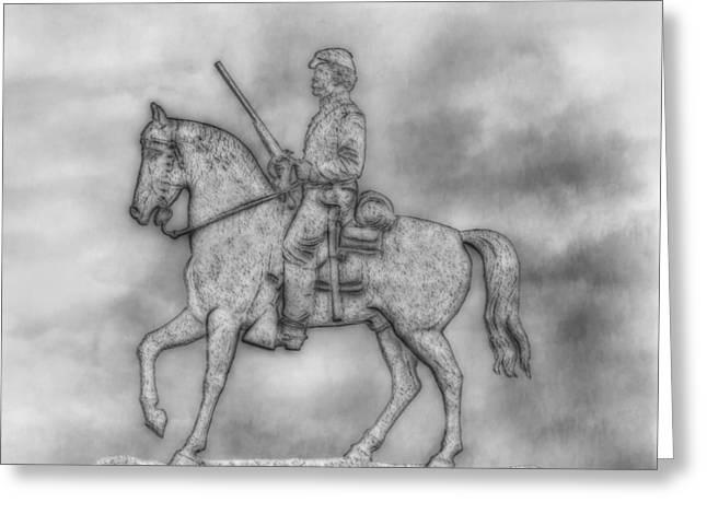 Stone Sentinel Greeting Cards -  Stone Sentinel Gettysburg Battlefield Sketch Greeting Card by Randy Steele