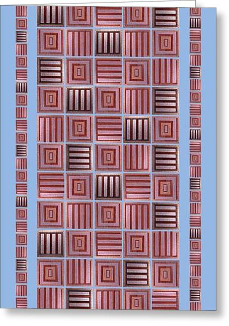 Geometric Digital Art Greeting Cards -  Striped squares on a blue background Greeting Card by Elena Simonenko